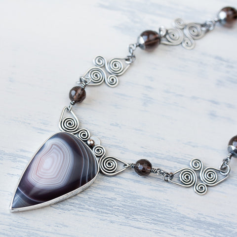 Botswana Agate Necklace, Oxidized Sterling Silver Celtic Spiral Links Chain - CookOnStrike
