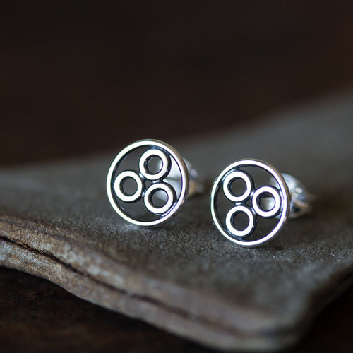Handcrafted Geometric Stud Earrings, circle bubble cluster earring - jewelry by CookOnStrike