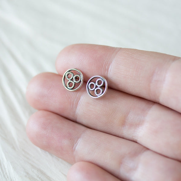 Handcrafted Geometric Stud Earrings, circle bubble cluster earring - CookOnStrike