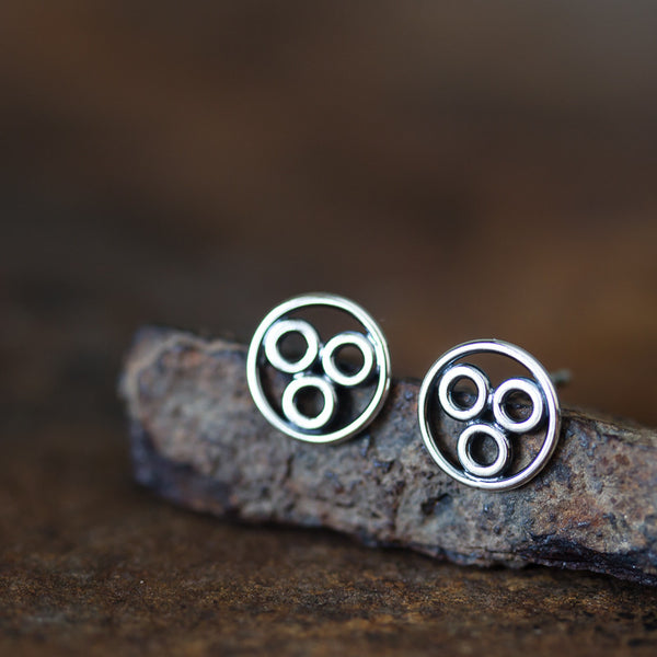 Handcrafted Geometric Stud Earrings, circle bubble cluster earring