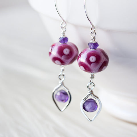Orchid Pink and Purple Lampwork Earrings with Amethyst - CookOnStrike