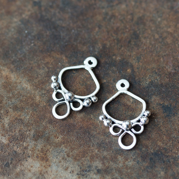 Handmade silver ear jacket earrings, mix and match front and back earring - CookOnStrike