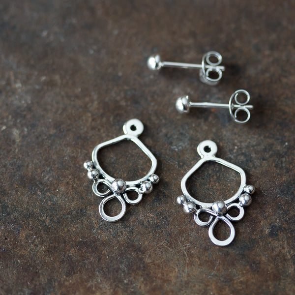 Handmade silver ear jacket earrings, mix and match front and back earring
