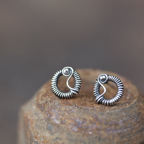 Unique Wire Wrapped Silver Circle Stud Earrings - jewelry by CookOnStrike