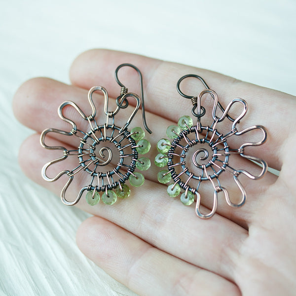 Unique Copper Earrings, Wire woven hammered spiral with pastel green peridot gemstones