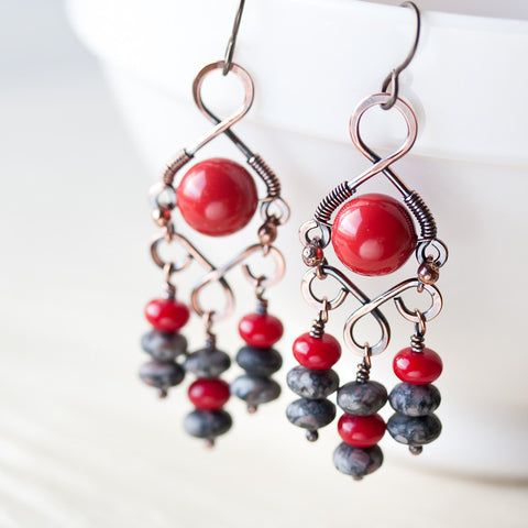 Coral Red Bohemian Chandelier Earrings, Wire wrapped Swarovski glass pearl and gray jasper - CookOnStrike
