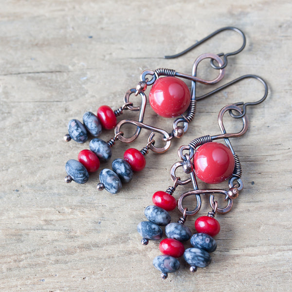 Coral Red Bohemian Chandelier Earrings, Wire wrapped Swarovski glass pearl and gray jasper