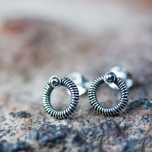 Unisex Wire Wrapped Circle Earrings, Sterling silver studs