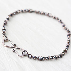 Dainty wire wrapped copper chain bracelet - jewelry by CookOnStrike