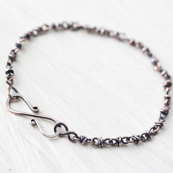 Dainty wire wrapped copper chain bracelet - CookOnStrike