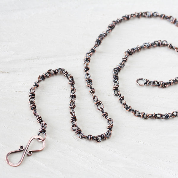Unique Copper Chain Necklace, infinity clasp - CookOnStrike