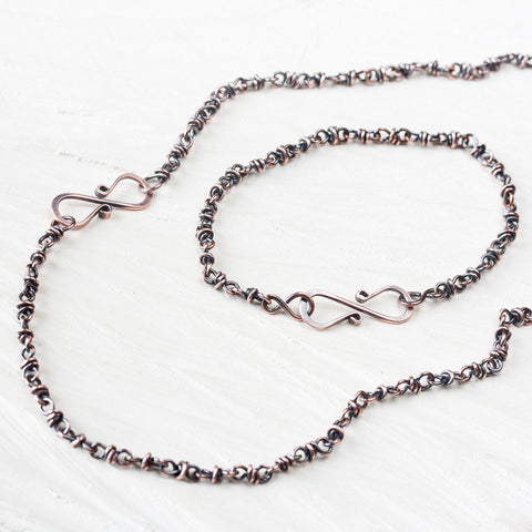 Copper Jewelry SET: Handmade Copper Chain Necklace and Bracelet