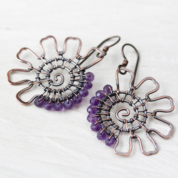 Handcrafted Purple Amethyst Earrings, asymmetric copper earrings with faceted amethyst gemstone beads
