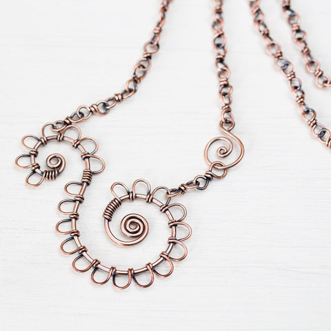 Double Spiral Copper Necklace, Wire wrapped Chain - CookOnStrike
