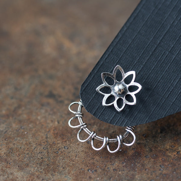 Silver Wire Wrapped Ear Jacket Earrings, Tiny Petals - CookOnStrike