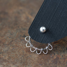 Load image into Gallery viewer, Silver Wire Wrapped Ear Jacket Earrings, Tiny Petals - jewelry by CookOnStrike