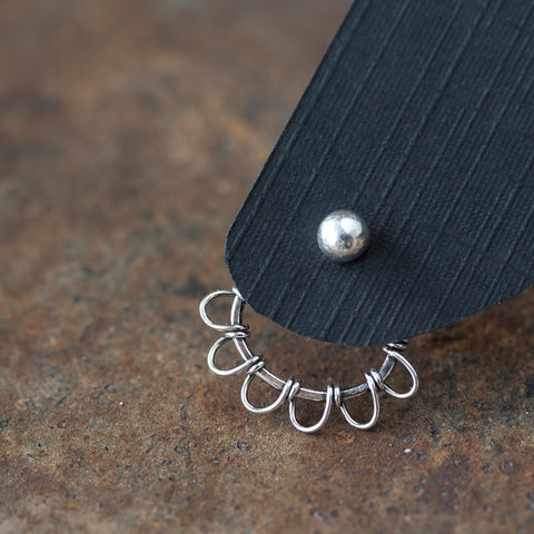 Silver wire wrapped ear jacket earrings