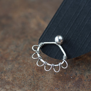 Silver Wire Wrapped Ear Jacket Earrings, Tiny Petals - jewelry by CookOnStrike