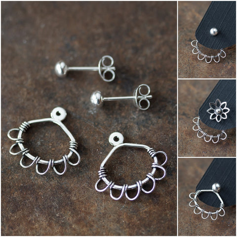 Silver Wire Wrapped Ear Jacket Earrings, Tiny Petals