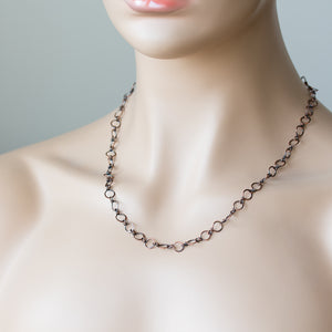 Handmade Wire Wrapped Hammered Copper Links Chain - jewelry by CookOnStrike