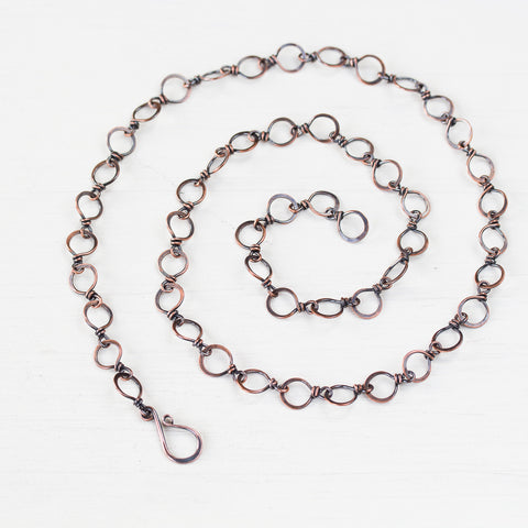 Handmade Wire Wrapped Hammered Copper Links Chain - CookOnStrike