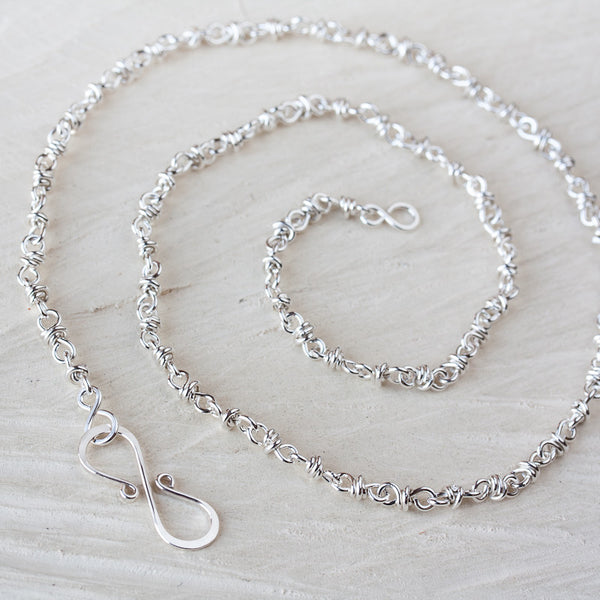 Artisan Handmade Sterling Silver Chain Necklace, wire wrapped silver links chain for pendant