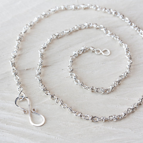 Artisan Handmade Sterling Silver Chain Necklace, wire wrapped silver links chain for pendant - CookOnStrike