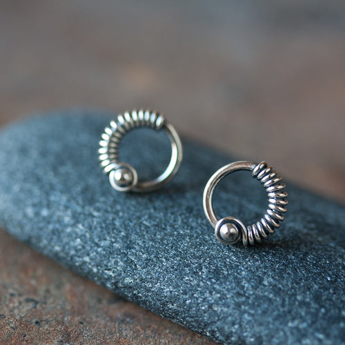 Unique Silver Circle Earrings, wire wrapped studs - CookOnStrike
