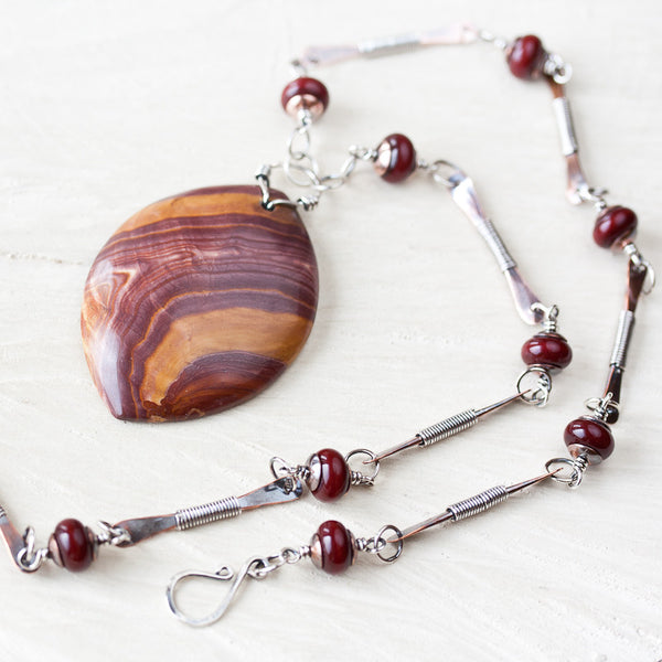 Large Earthy Wonderstone Pendant Necklace, mixed metal