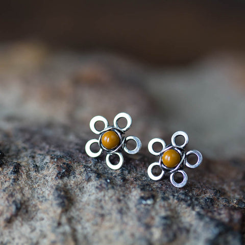 Natural Mookaite Stud Earrings, Little Yellow Flower - CookOnStrike
