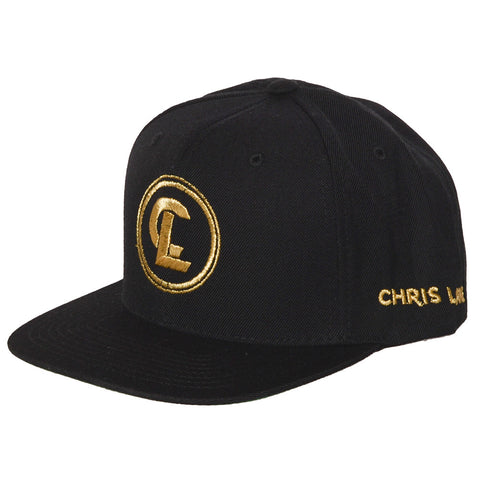 Chris Lane black hat with gold embroidered logo