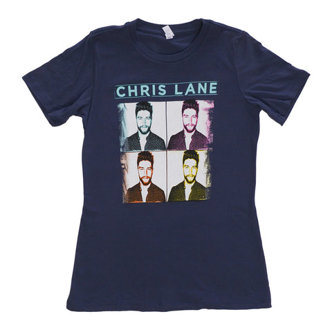 Beautiful full color Chris Lane image grid t-shirt on navy.