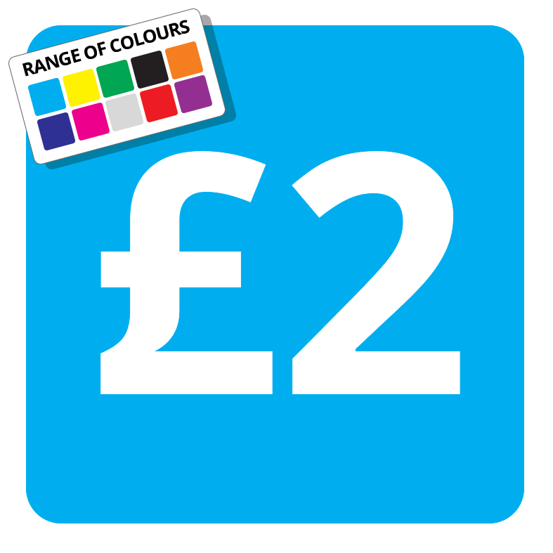 £2 Printed Price Sticker - 37mm Square  Light Blue