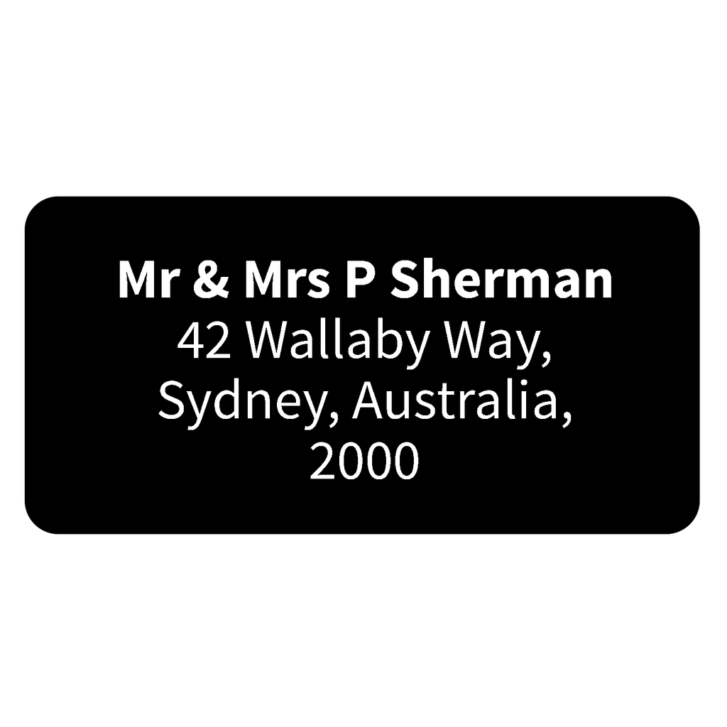 Printed return address labels personalised address labels black