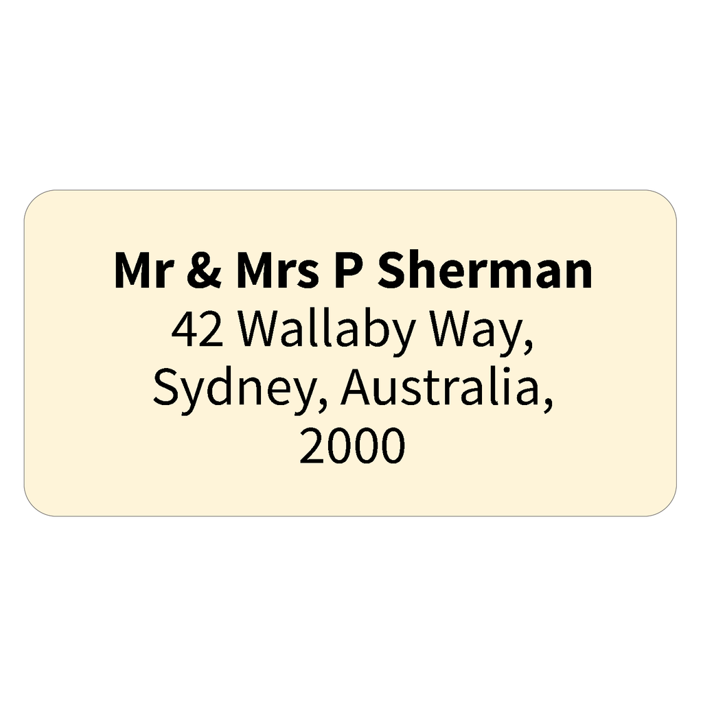 Printed return address labels personalised address labels cream