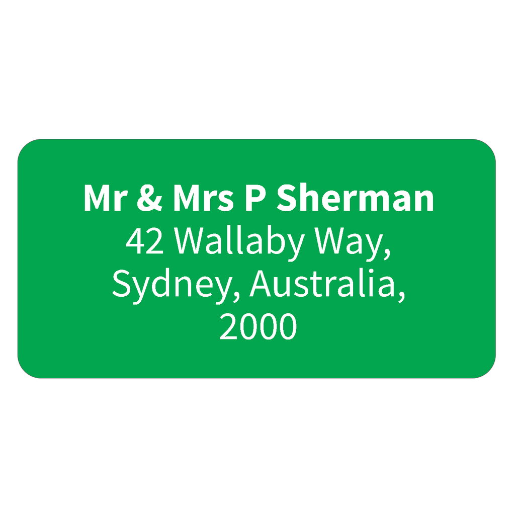 Green - Printed Return Address Labels - 40mm x 20mm