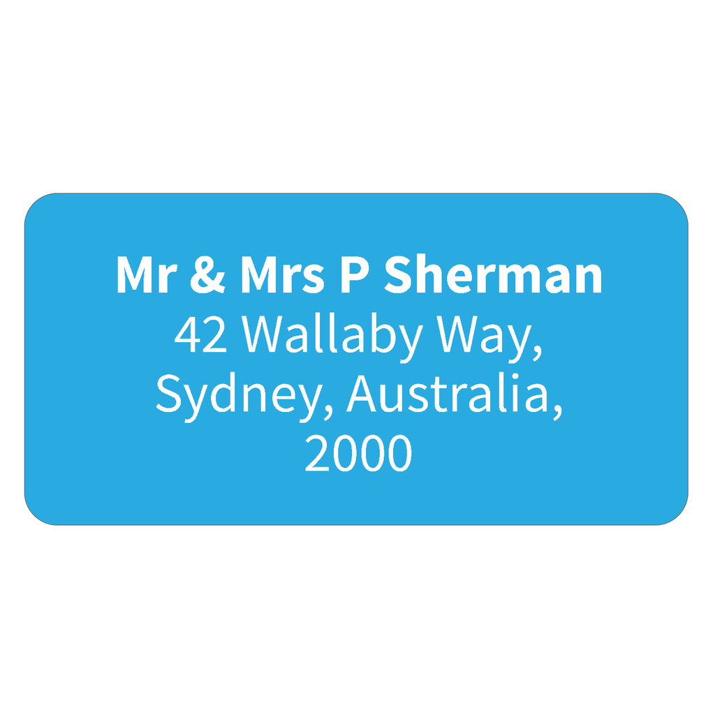 Light Blue - Printed Return Address Labels - 40mm x 20mm