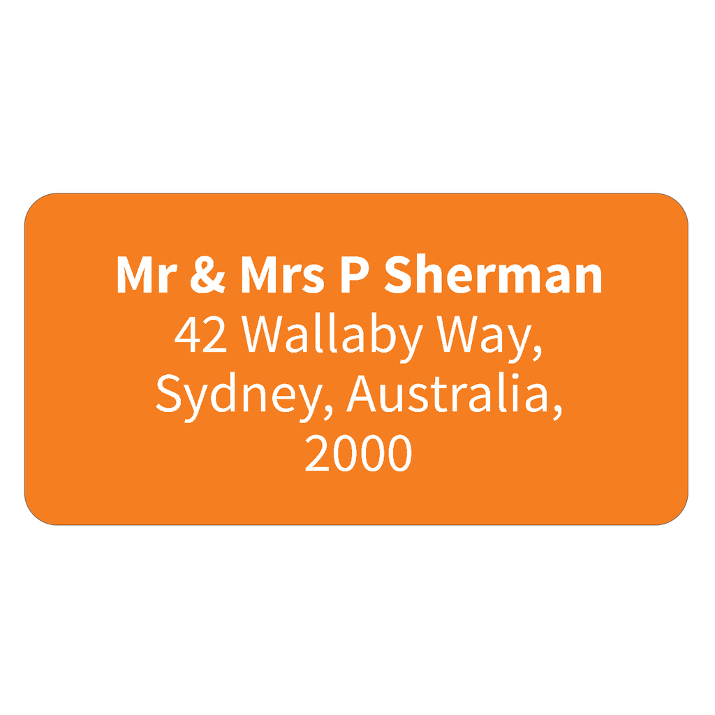 Printed return address labels personalised address labels orange