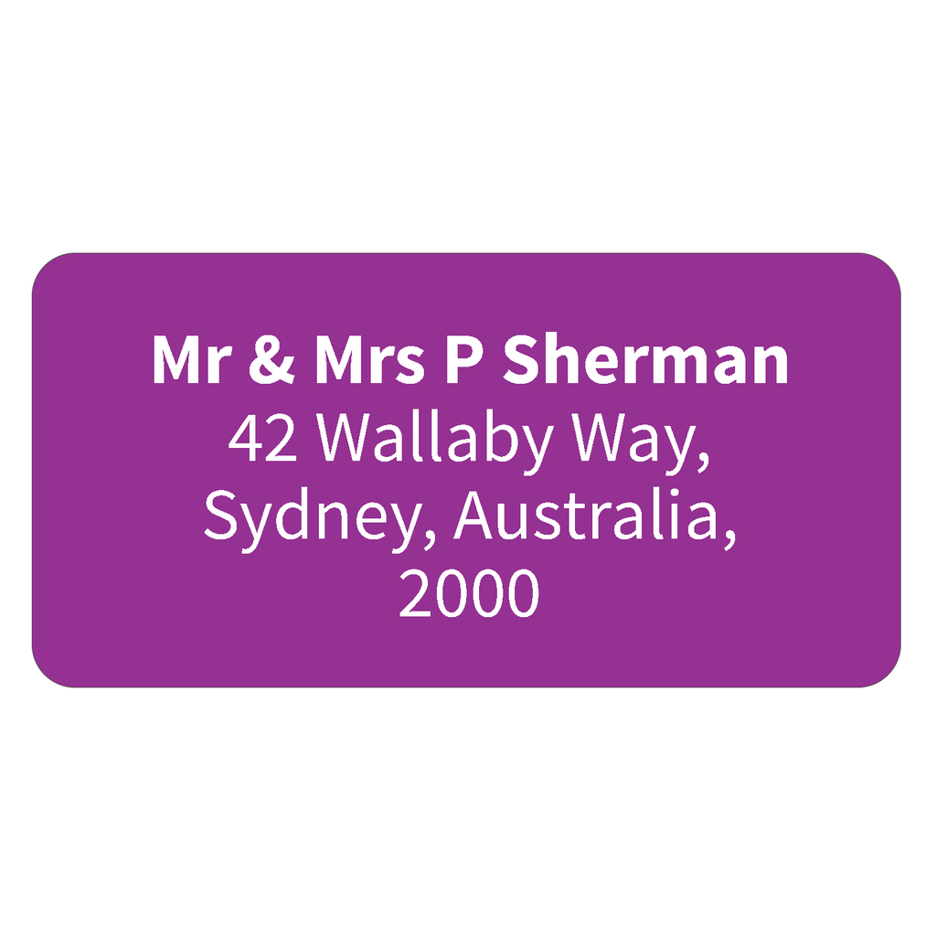 Purple - Printed Return Address Labels - 40mm x 20mm
