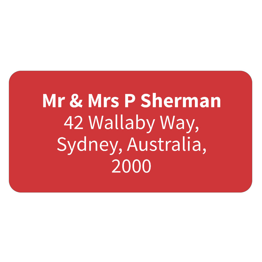 Red - Printed Return Address Labels - 40mm x 20mm