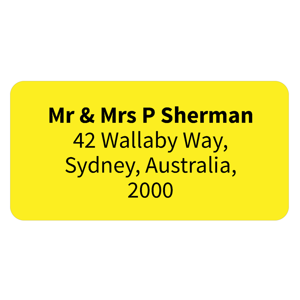printed return address labels personalised address labels yellow
