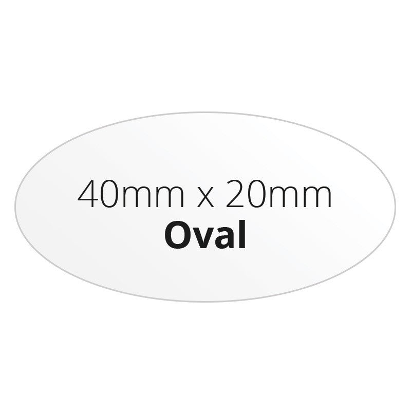 40mm x 20mm Oval - Premium Paper - Printed Labels & Stickers - StickerShop