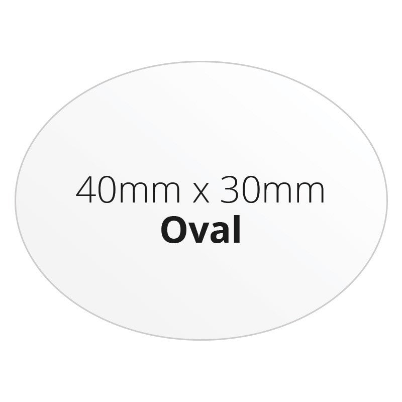 40mm x 30mm Oval - Premium Paper - Printed Labels & Stickers - StickerShop
