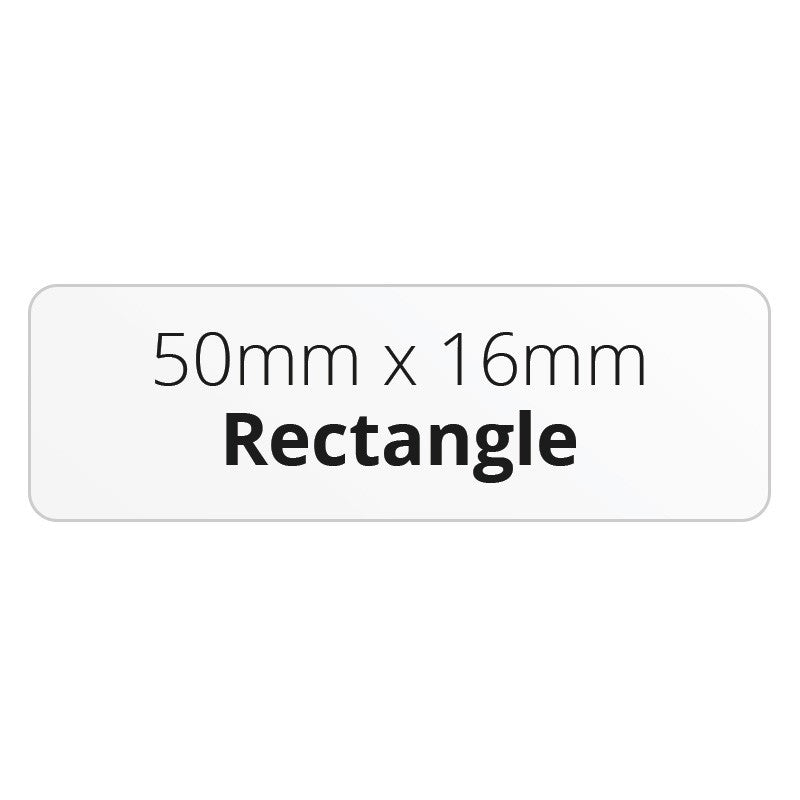 50mm x 16mm Rectangle - Premium Paper - Printed Labels & Stickers - StickerShop