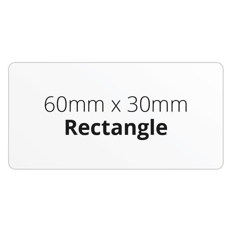 60mm x 30mm Rectangle - Premium Paper - Printed Labels & Stickers - StickerShop