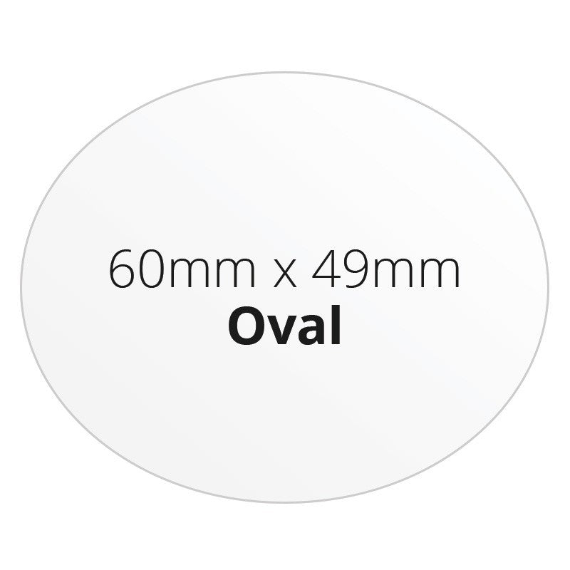 60mm X 49mm Oval - Premium Paper - Printed Labels & Stickers