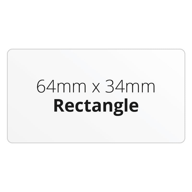 64mm x 34mm Rectangle - Premium Paper - Printed Labels & Stickers - StickerShop