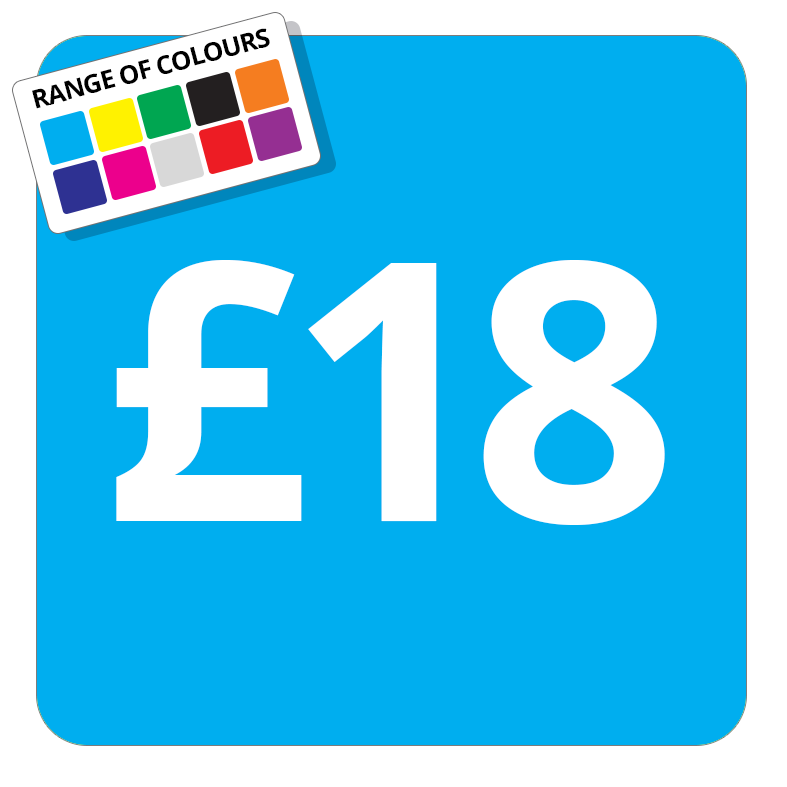 £18 Printed Price Sticker - 51mm Square Light Blue