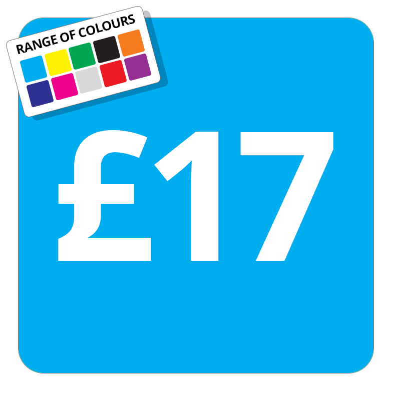 £17 Printed Price Sticker - 37mm Square  Light Blue