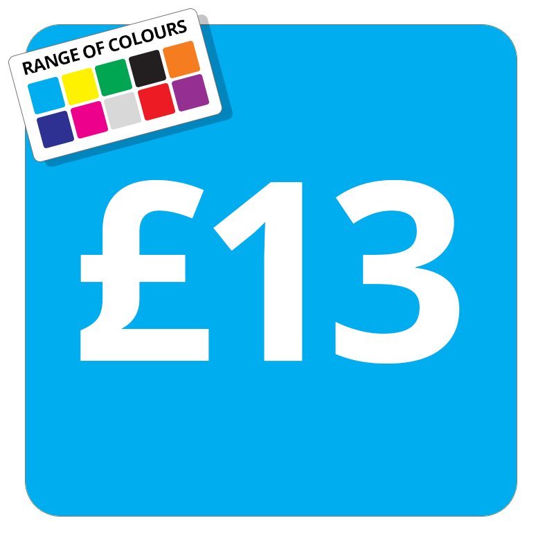 £13 Printed Price Sticker - 25mm Square Light Blue